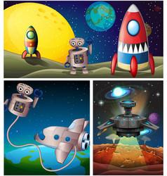 three scenes with rocket in space vector image vector image