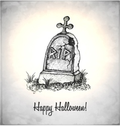 Tombstone in a sketch style vector