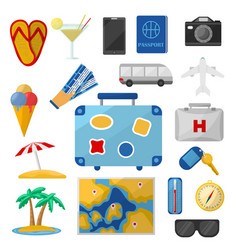 Travel elements set vector