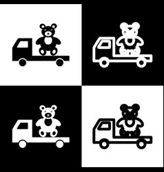 Truck with bear black and white icons and vector
