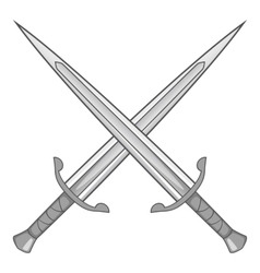 Two crossed swords icon gray monochrome vector