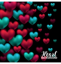 Valentines day card with volume hearts red and vector image