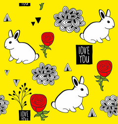 Very cute seamless pattern with white rabbits and vector