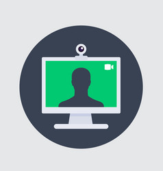 Video call icon web camera and desktop vector