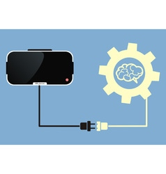 Virtual reality glasses connect to brain vector