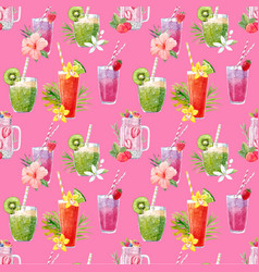 Watercolor smoothie pattern vector