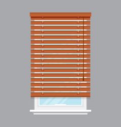 window with brown roller blind isolated vector image vector image