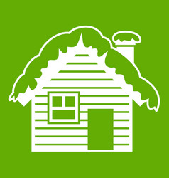 wooden house covered with snow icon green vector image