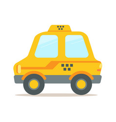Yellow taxi car colorful cartoon vector