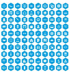 100 loans icons set blue vector