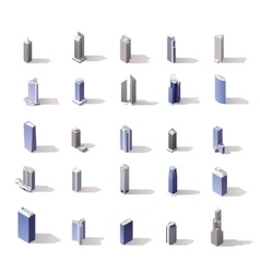 Isometric skyscrapers set vector