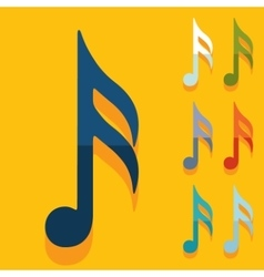 Flat design musical note vector image