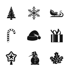 Winter holiday icons set simple style vector