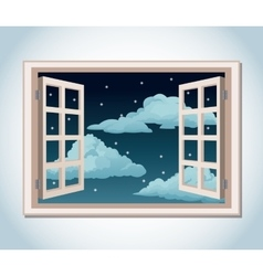 Room window night sky stars clouds vector
