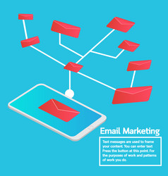 Business concept smartphone sending email vector