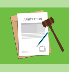 Arbitration agreement letter stamped with folder vector