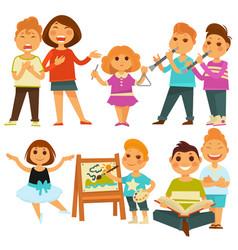 Happy children kindergarten playing activity vector