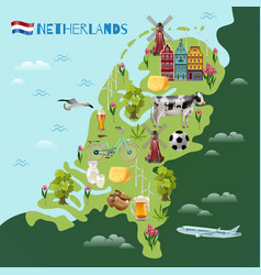 Holland cultural travel map poster vector