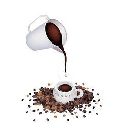 Pour a delicious hot coffee by measure cup vector