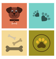 Assembly flat icons traces of dog bones vector