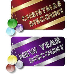 Christmas new year discount cards vector