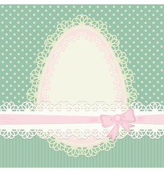 Easter vintage card with egg on green background vector