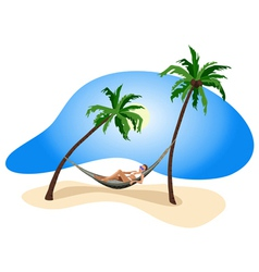 Tropical relax girl vector