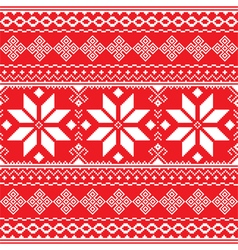Traditional folk red and white embroidery pattern vector