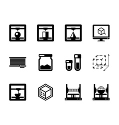 Set of 3d printing black icons vector