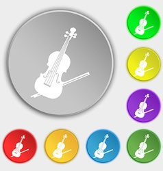 Violin icon sign symbol on eight flat buttons vector