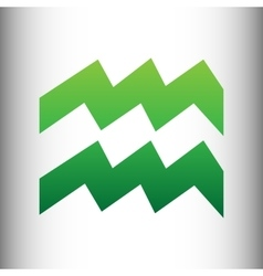 Aquarius sign green gradient icon vector