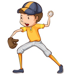 A coloured drawing of a baseball player vector image vector image