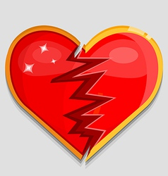 big red broken heart vector image