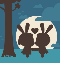 Bunny couple kissing under tree vector