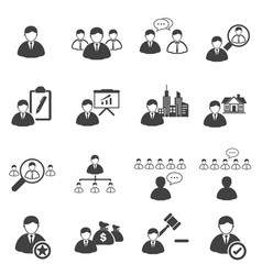 business icons set leadership vector image vector image