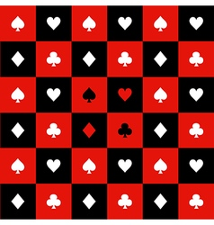 Card suits red black chess board background vector
