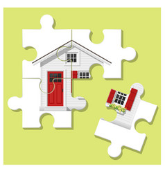 Dream house concept with puzzle house vector