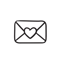 Envelope with heart sketch icon vector