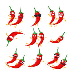 Funny red chili peppers - isolated cartoon vector