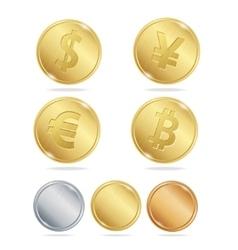 Gold Coins Dollar Euro Bitcoin Yuan Set vector image vector image