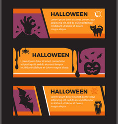 happy halloween banners set of design elements vector image