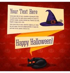 Happy halloween cute retro banner - craft paper vector