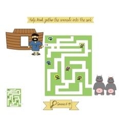 Homework for kids maze to help noah gather vector