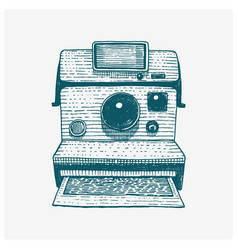 Instant photo camera vintage engraved hand drawn vector