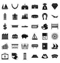 Investment icons set simple style vector