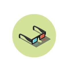 Isometric of black 3d glasses stereo cinema icon vector