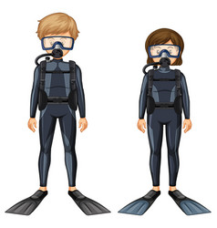 Man and woman in scuba diving outfit vector