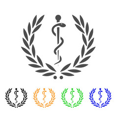 Medical honor laurel wreath flat icon vector