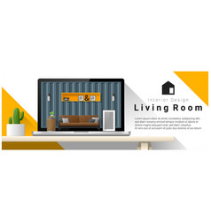 modern living room interior design background vector image vector image