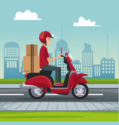 poster city landscape with fast delivery man vector image